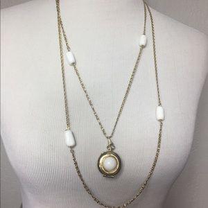 Vintage Milk Glass Locket Double Chain Necklace